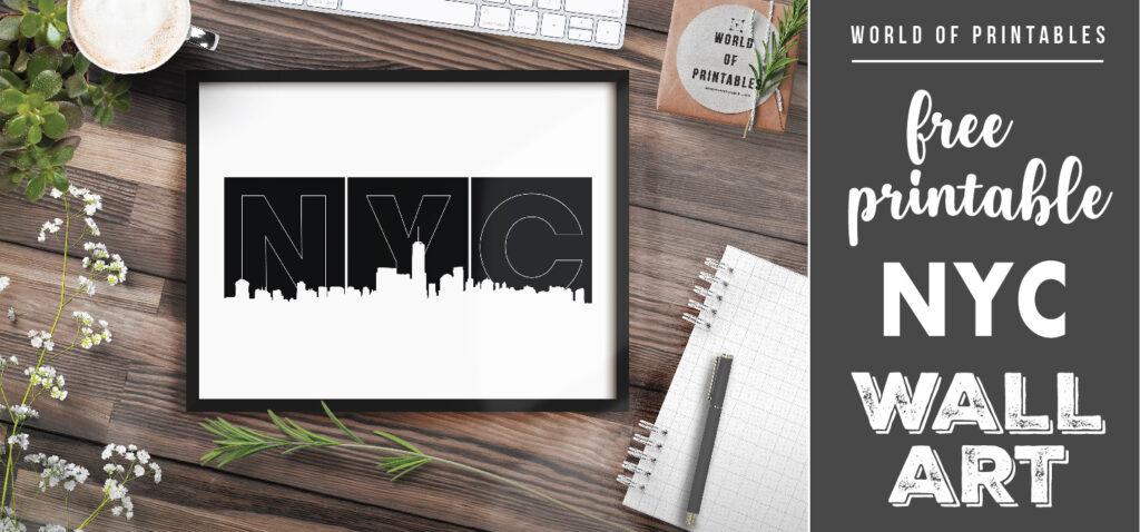 free printable NYC skyline wall art