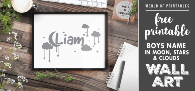 free printable boys name in moon stars and clouds nursery wall art