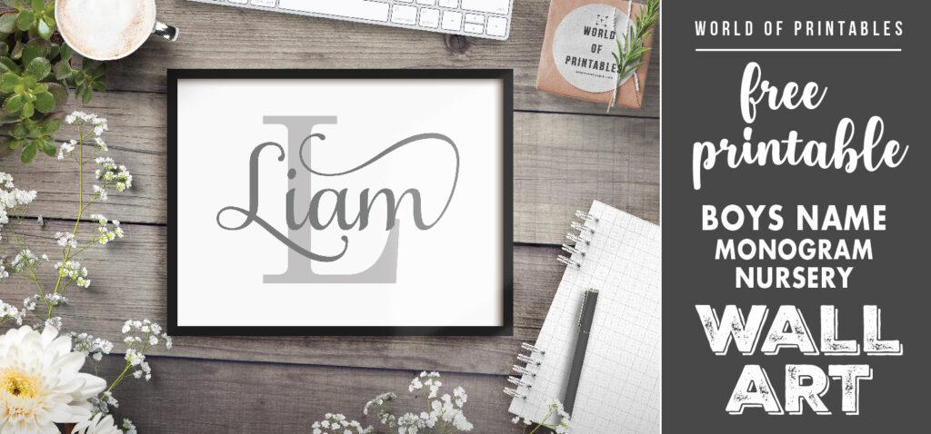 free printable boys name monogram nursery wall art