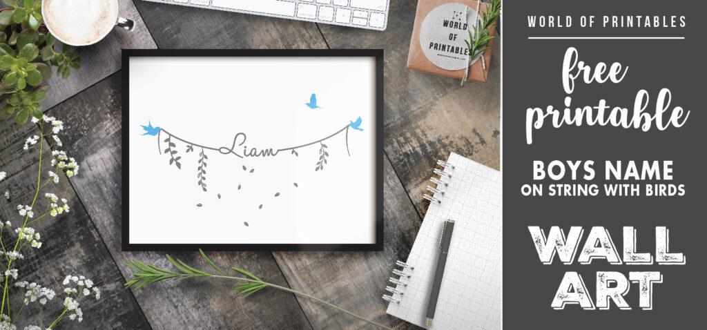 free printable boys name on string with birds nursery wall art