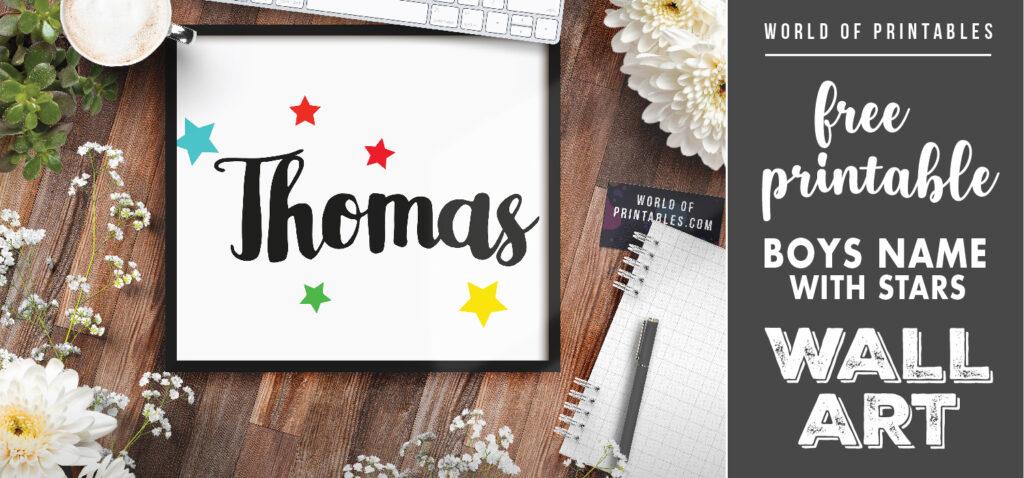 free printable boys name with stars wall art