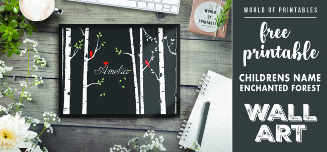 free printable childrens name enchanted forest wall art