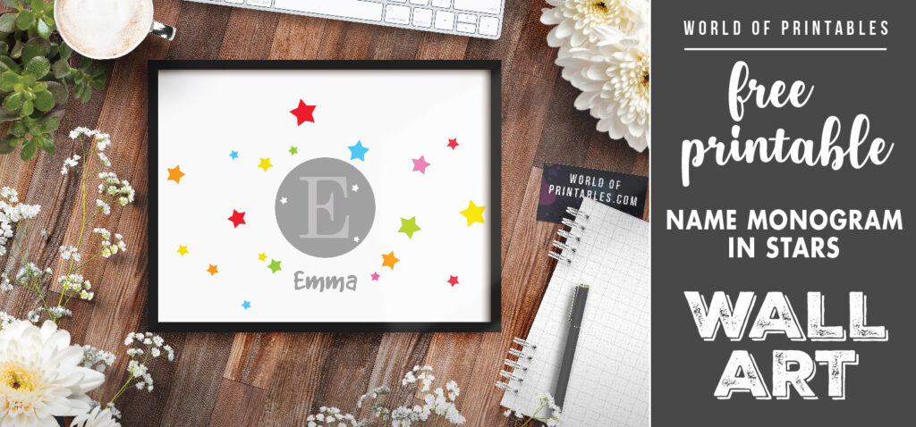 free printable childrens name monogram surrounded by stars wall art