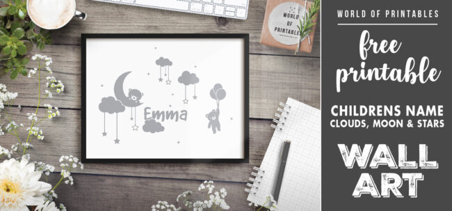 free printable childrens name moon stars and clouds wall art