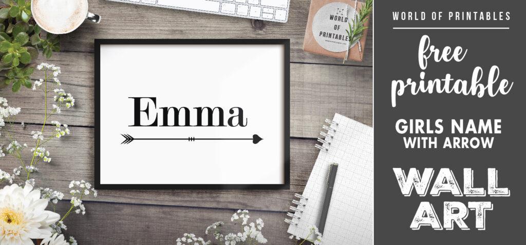 free printable girls name with arrow nursery wall art