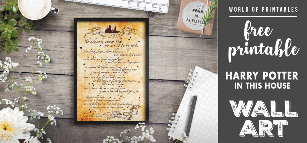 free printable harry potter in this house wall art