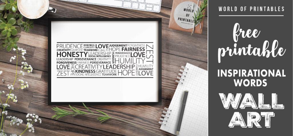 free printable inspirational words wall art