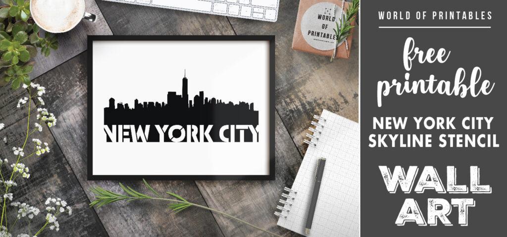 free printable new york city skyline stencil wall art