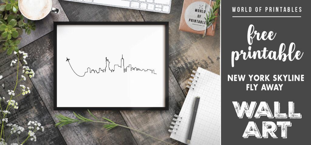 free printable new york skyline flyaway wall art