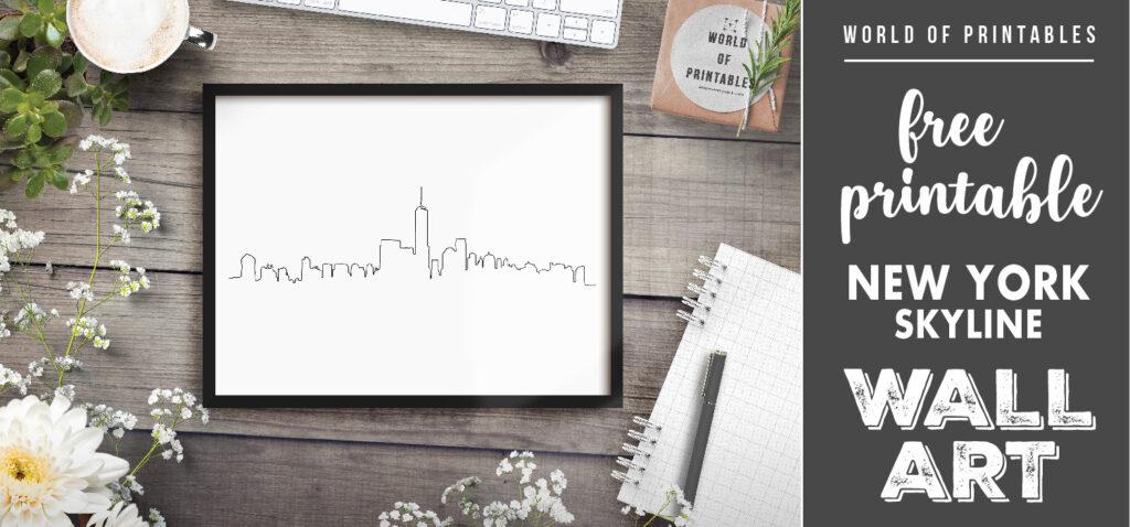 free printable new york skyline hand drawn wall art