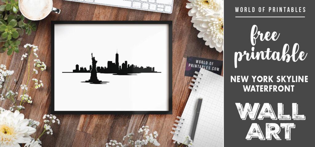 free printable new york skyline waterfront wall art