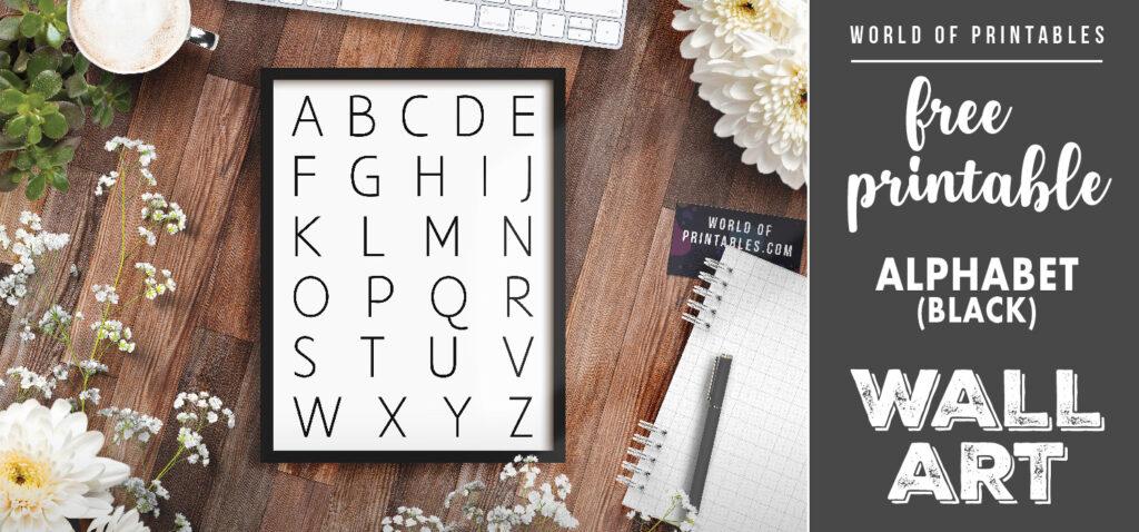 free printable wall art - alphabet black
