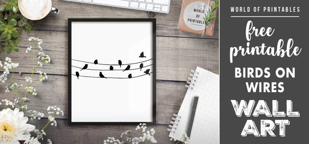 free printable wall art - birds on wires