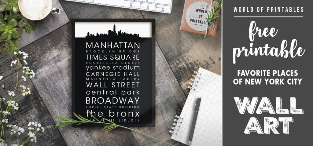 free printable wall art - favorite places of new york city