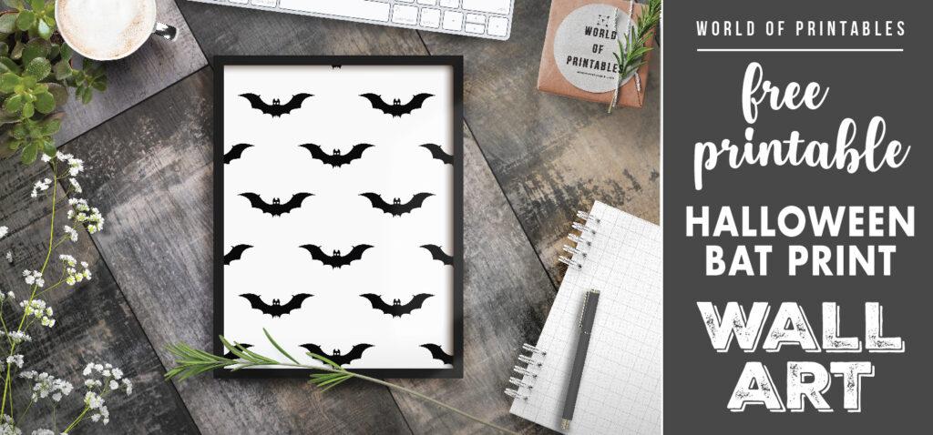 free printable wall art - halloween bat print