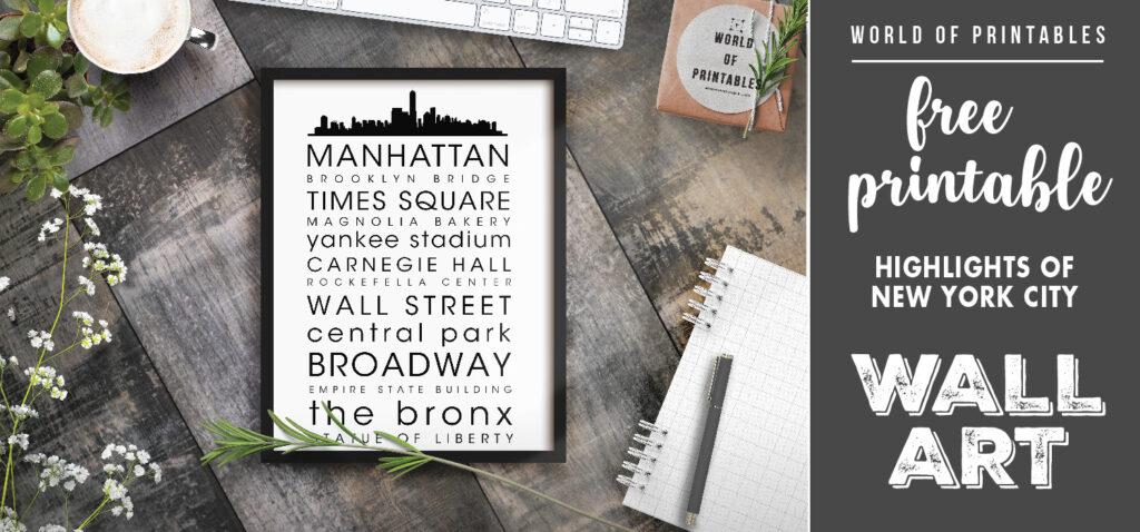 free printable wall art - highlights of new york city