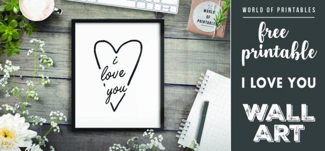 free printable wall art - i love you