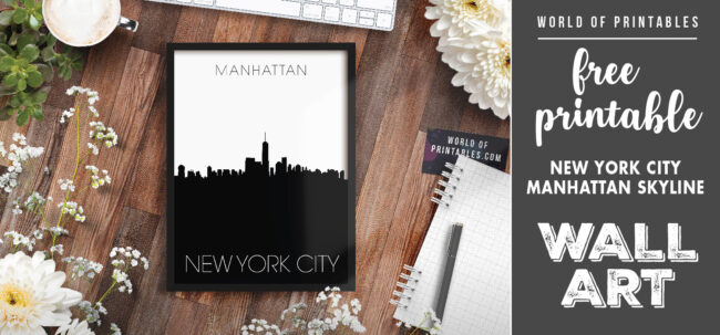 free printable wall art - new york city manhattan skyline