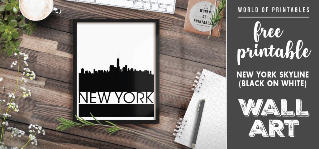 free printable wall art - new york skyline black on white