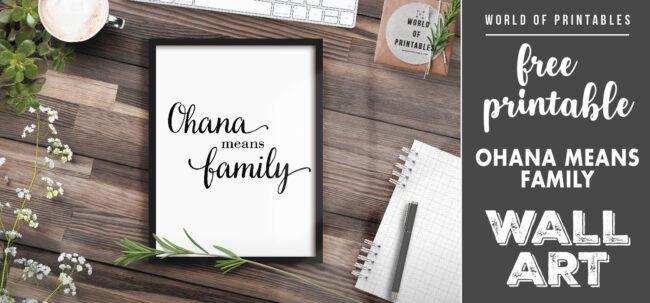 free printable wall art - ohana means family