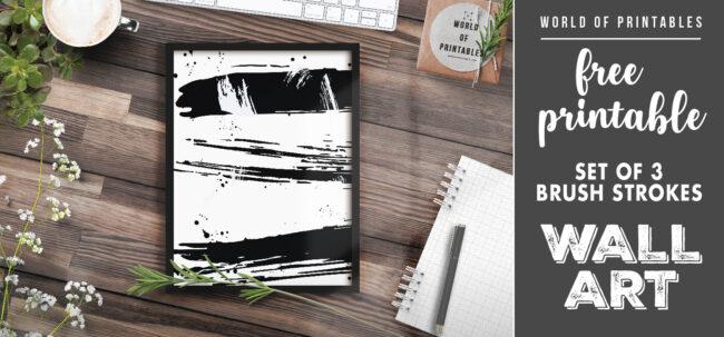 free printable wall art - set of 3 brush strokes 1