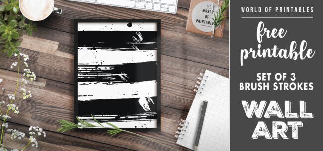 free printable wall art - set of 3 brush strokes 2