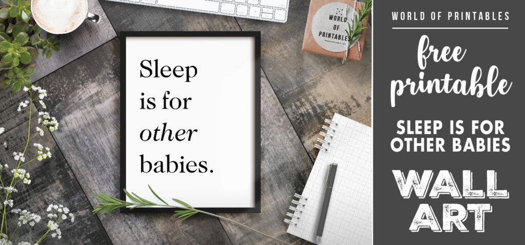 Sleep is for other babies print, free printable wall art, Kidsroom wall art, nursery decor, nursery wall art