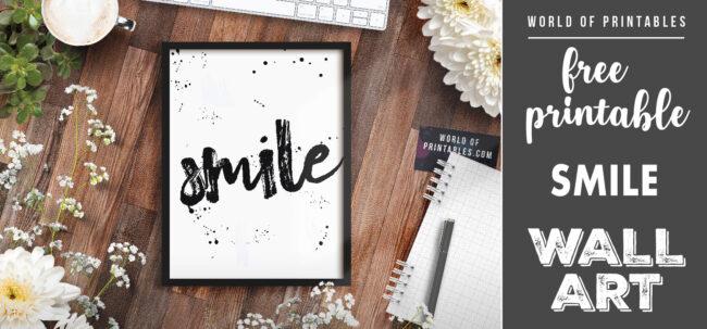 free printable wall art - smile
