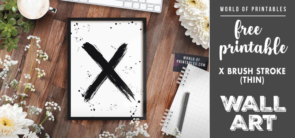free printable wall art - x brush stroke thin