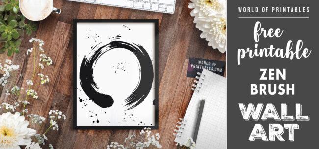 free printable wall art - zen brush stroke