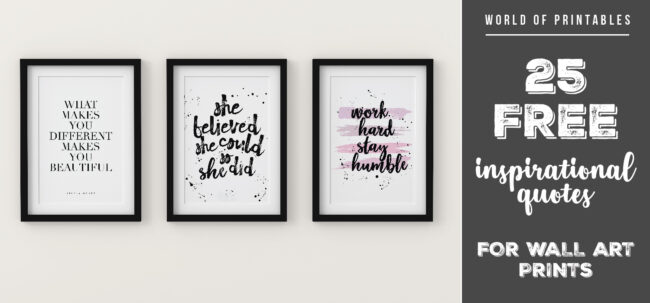 25 free inspirational quotes for wall art prints