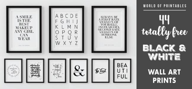 44 modern black and white wall art prints decor