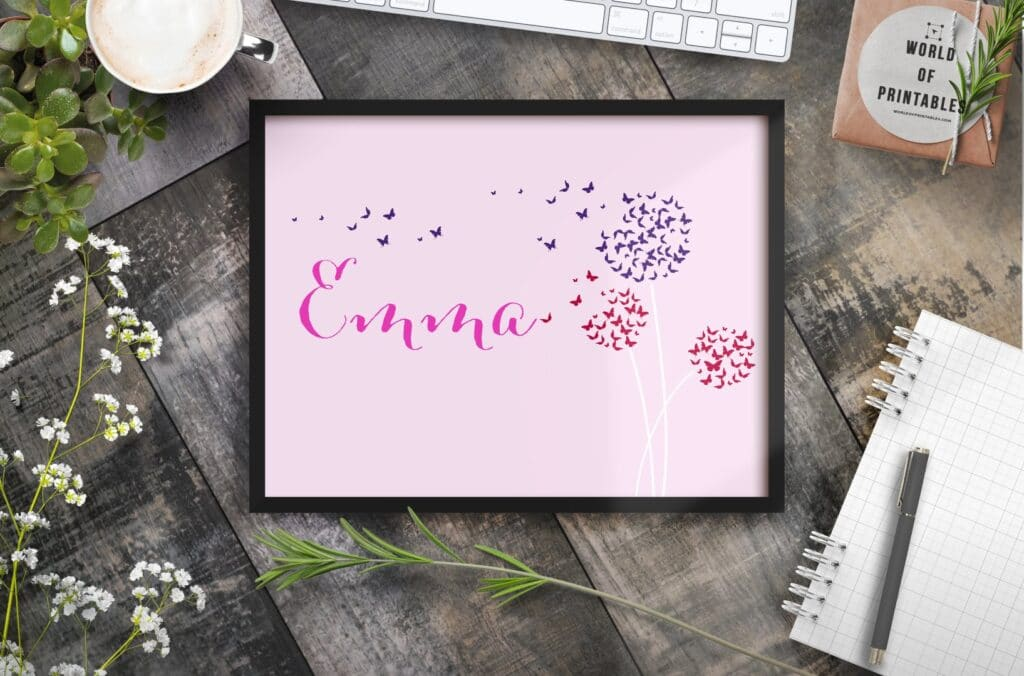 Girls name with blowing dandelions - Printable Wall Art