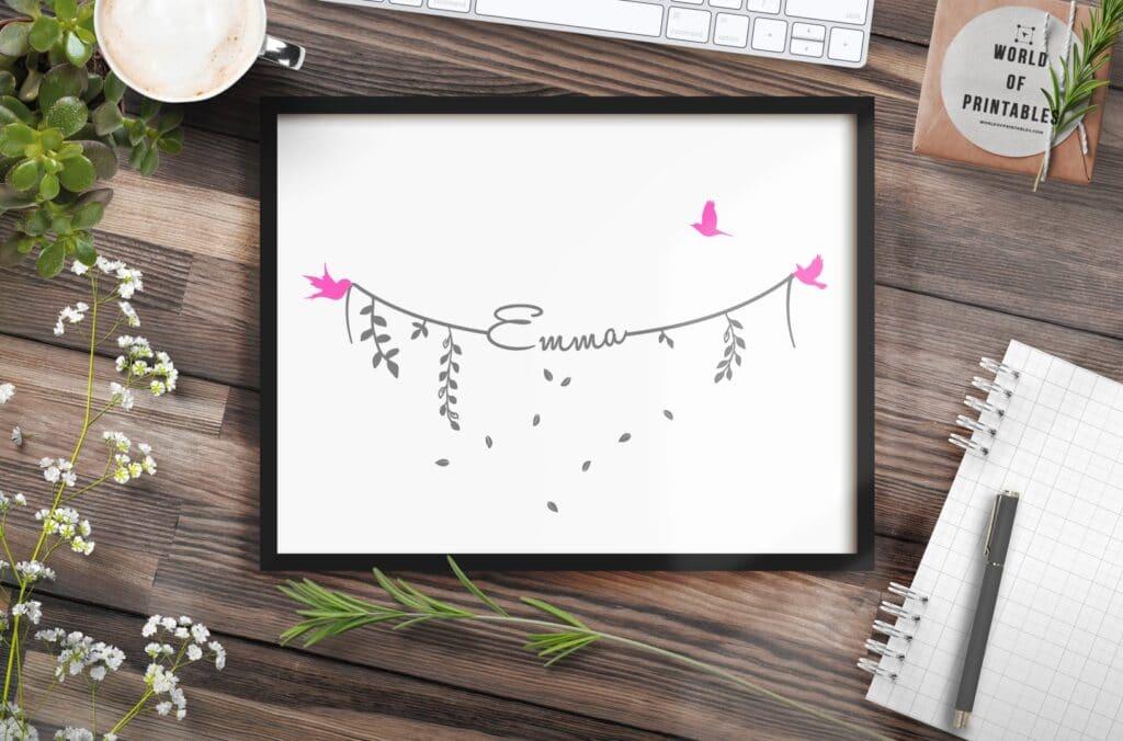 Girls names on bird string print - Printable Wall Art