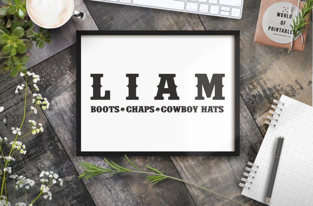 Grey Cowboy Boys Name - Printable Wall Art