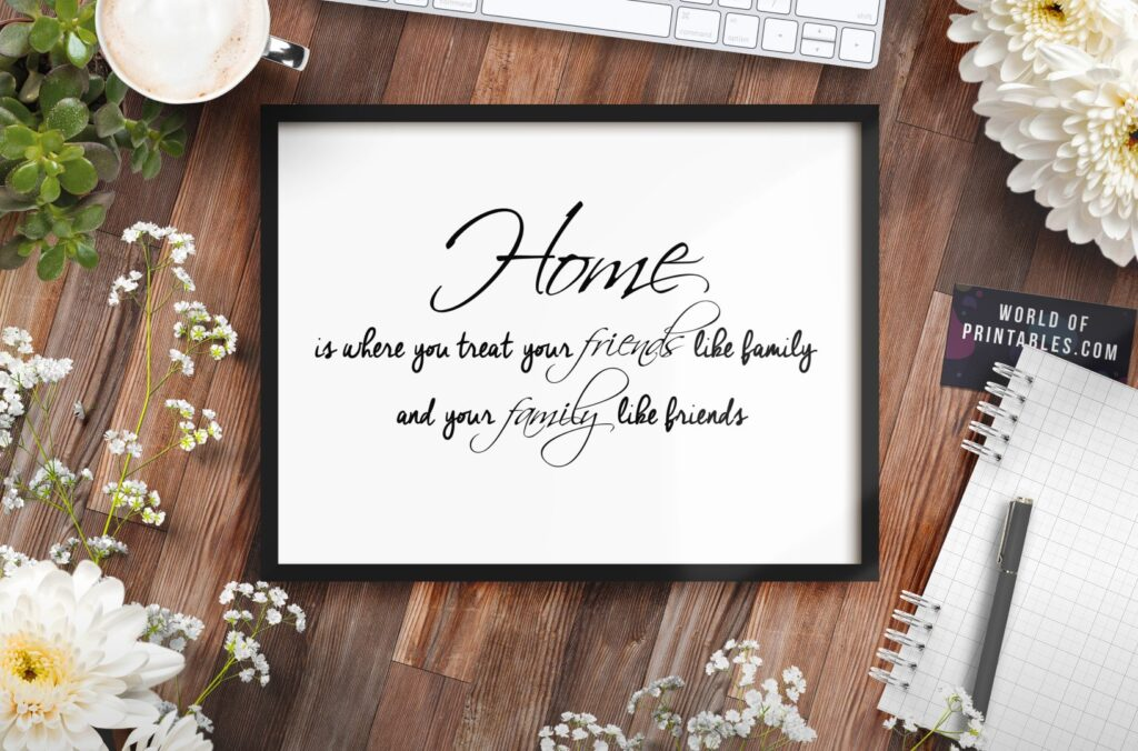 Home is where you treat your friends like family quote print - Printable Wall Art