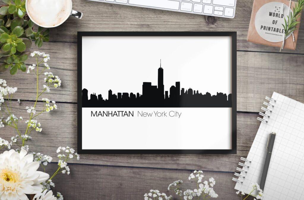 Manhattan New York City Skyline mockup - Printable Wall Art