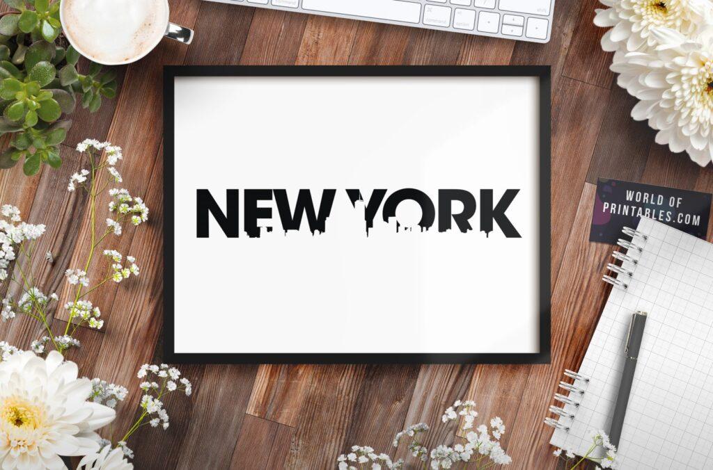 New York Skyline Printable Wall Art - Free Black and White art print