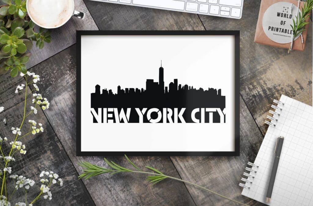 New York City Stencil mockup - Printable Wall Art