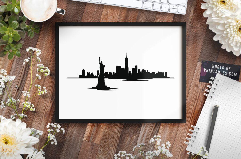 New York Skyline Waterfront mockup - Printable Wall Art