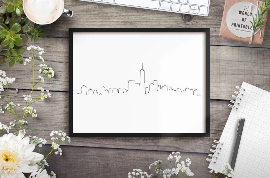 New York Skyline only mockup - Printable Wall Art