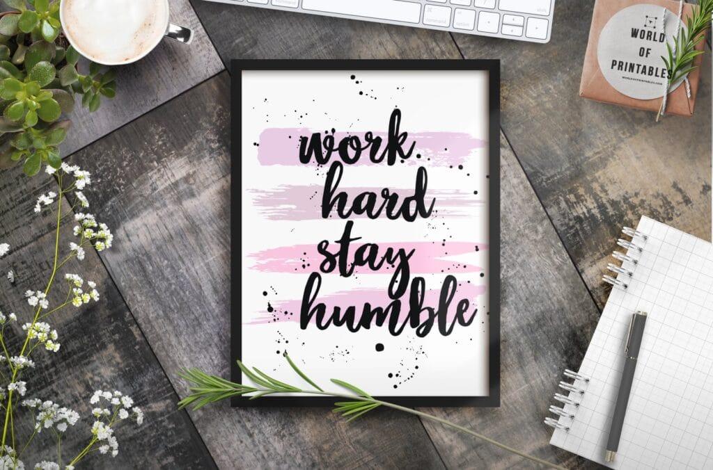 Work Hard Stay Humble mockup alt - Printable Wall Art