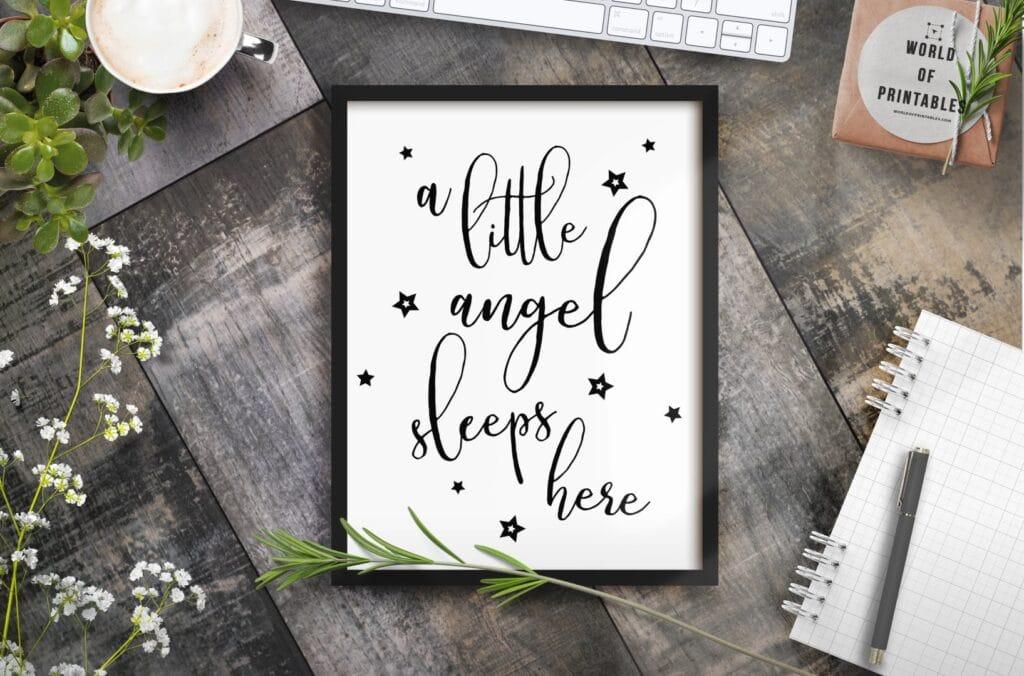 A little angel sleeps here - Printable Wall Art