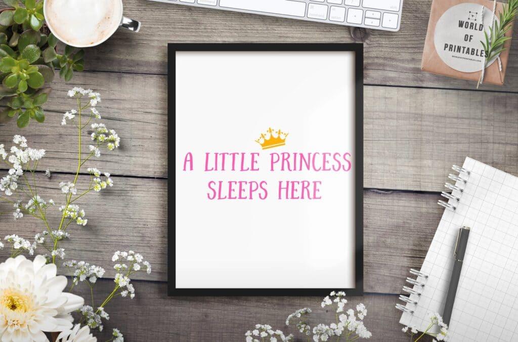 A little princess sleeps - Printable Wall Art