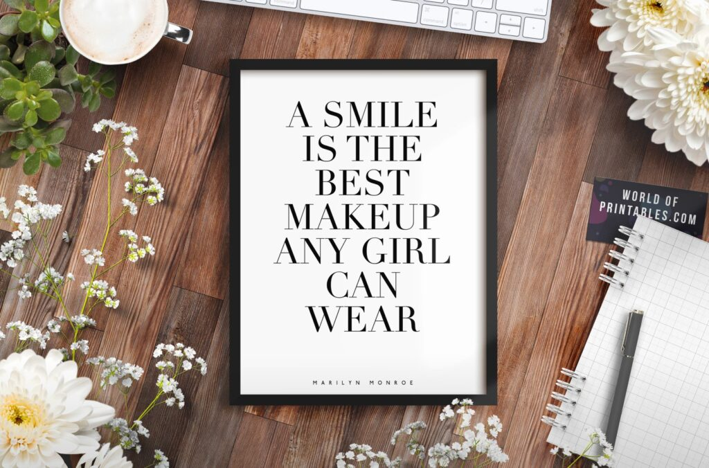 a smile is the best makeup a girl can wear mockup 2 - Printable Wall Art