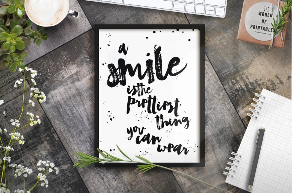 a smile is the prettiest thing you can wear mockup 2 - Printable Wall Art