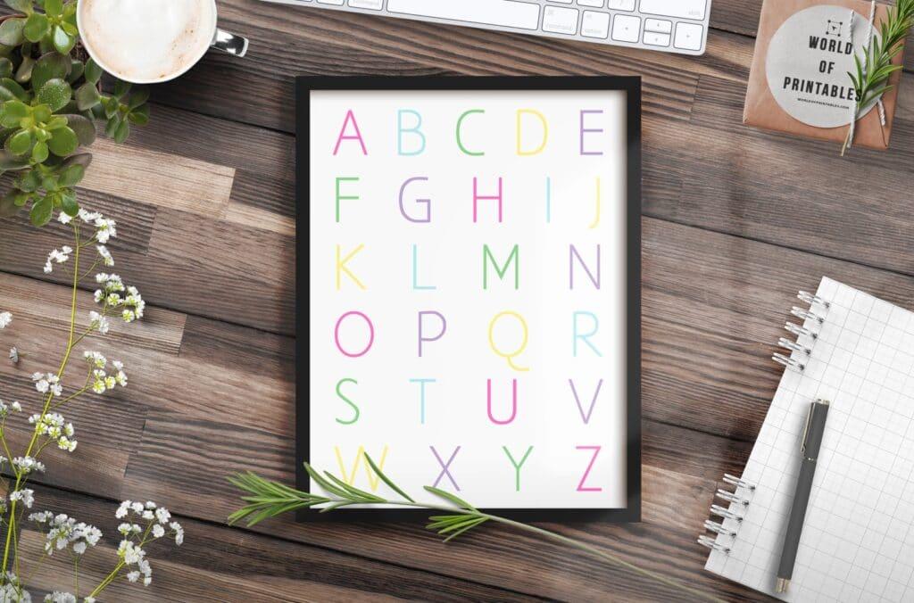 Alphabet print in pastel colors