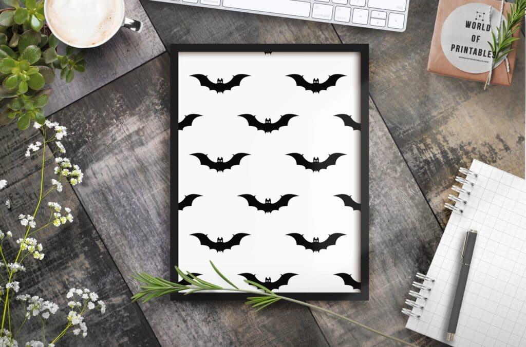 Bat print black and white - Free Printable Wall Art