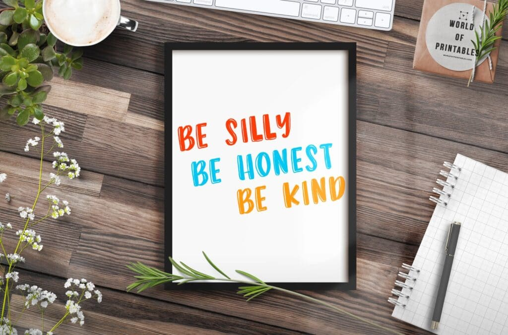 be silly be kind mockup - Printable Wall Art