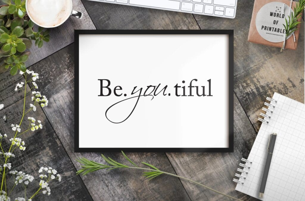 Be.you.tiful art print in black and white - free wall art